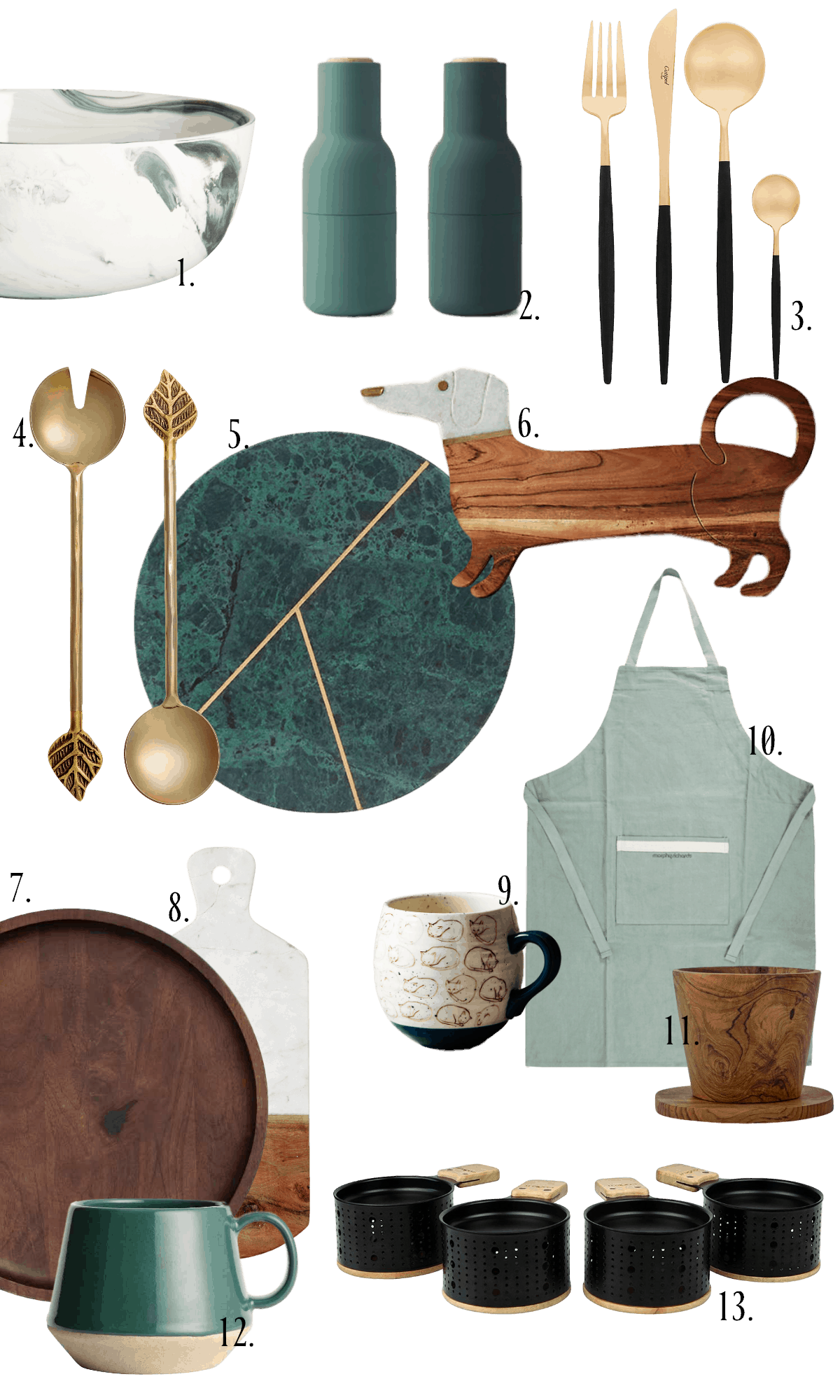 green wood and brass homewares