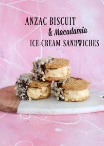 ANZAC Biscuit and Macadamia Ice-Cream Sandwiches